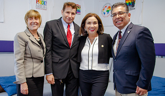 From left to right: Norma Bouchard, Dean of the College of Arts and Letters; Robert DeKoven ('80); SDSU President Adela de la Torre; Eric Rivera, vice president for Student Affairs