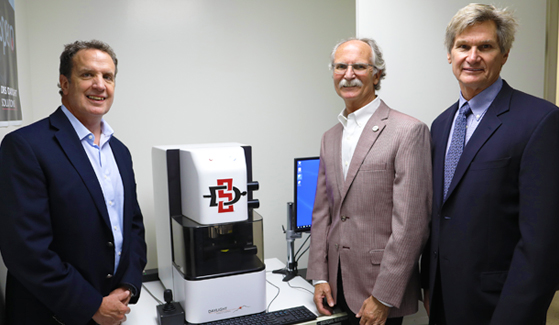 From left to right: Tim Day, DRS Daylight Solutions CEO and CTO; Stanley Maloy, SDSU associate vice president of research and innovation; Paul Larson, DRS Daylight Solutions president and COO