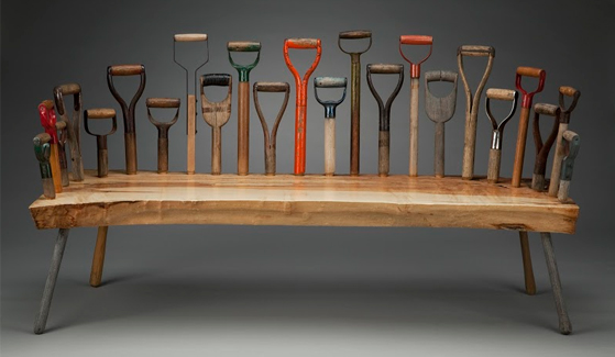 Tom Loeser, Dig 23, 2015; spalted maple, shovel handles, 66 x 37 x 26.5 inches; image courtesy of the artist