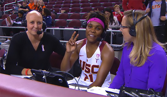 Tammy Blackburn (left) announcing a women's basketball game for Pac-12 Networks. (Credit: Pac-12 Networks)