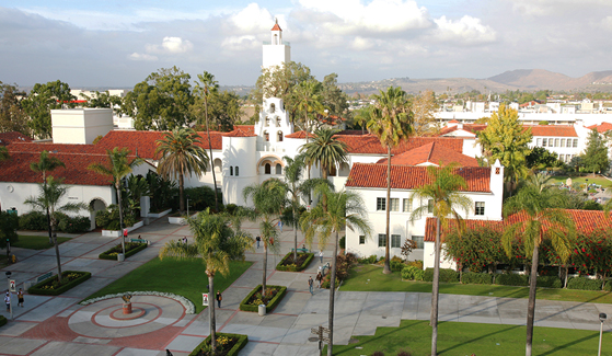 Aerial view of the San Diego State University campus. (Photo: Sandy Huffaker Jr.)