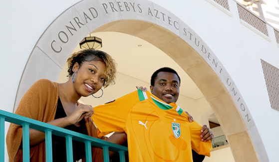 Business management major Marion Ette and finance major Zion Kah are excited to represent the Ivory Coast at this year