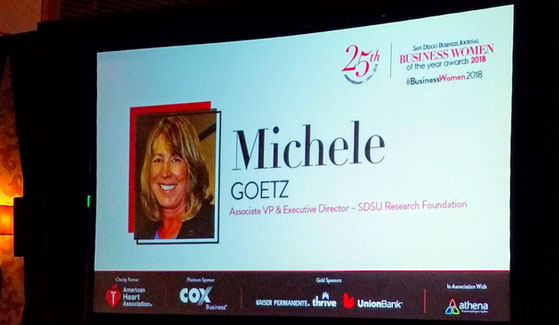 San Diego State University's Michele Goetz has been honored by the San Diego Business Journal as a 2018 Business Woman of the Year.