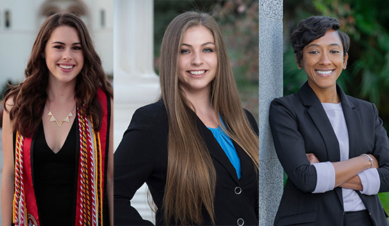 McKinley Thompson-Morley, Erin Huddleson and Nicole Cropper are SDSU's 2018-2019 Capital Fellows.