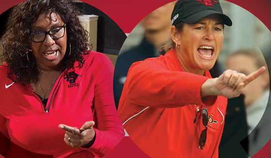 SDSU coaches Deitre Collins-Parker, left, and Carin Crawford