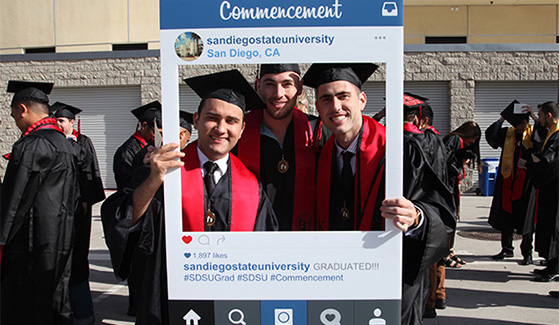 Experience and share the sights and sounds of SDSU's commencement on social media.