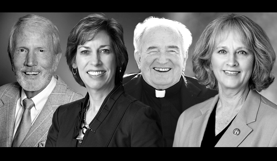 The 2019 honorary degree recipients are: Christoper Sickels, Ellen Ochoa, Father Joe Carroll and Sally Roush.