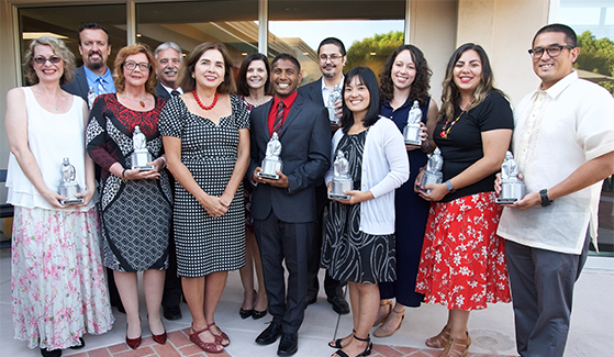 A number of the Presidential Staff Excellence Awards winners with SDSU President Adela de la Torre.