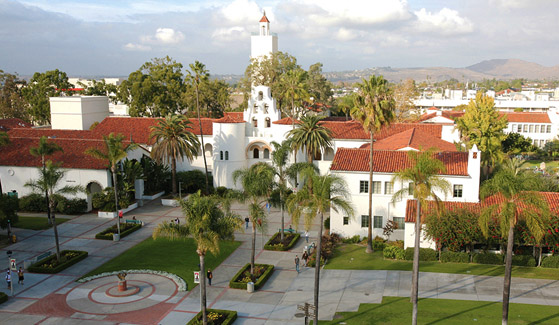 Aerial view of San Diego State University campus