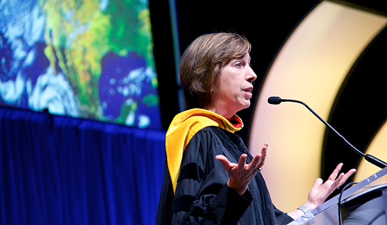 Ellen Ochoa delivered a lecture,