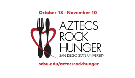 Monetary and online donations and food dropped off in bins are among the ways to help during this year's Aztecs Rock Hunger food drive.
