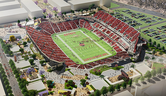 Rendering of San Diego State University's new multi-use stadium in Mission Valley