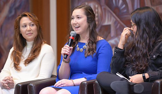 Heather Doyle (center) speaks at SDSU's 2020 Women in Entrepreneurship and Leadership event on February 27, 2020. (Photo: Fowler College of Business)
