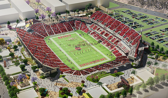 Rendering of San Diego State University's new multi-use stadium in Mission Valley.