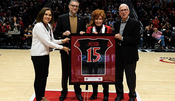 From left to right: SDSU President Adela de la Torre, SDSU Athletic Director John David Wicker, Mrs. Dianne L. Bashor, Steve Fisher