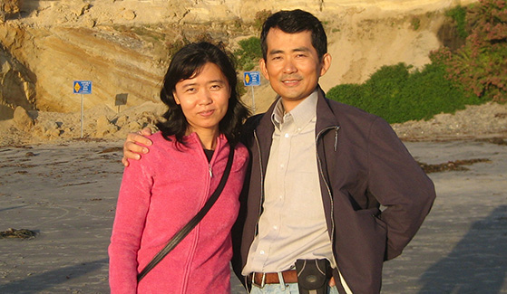 SDSU geography professor Li An (right) with his wife Yanqun in Solana Beach.