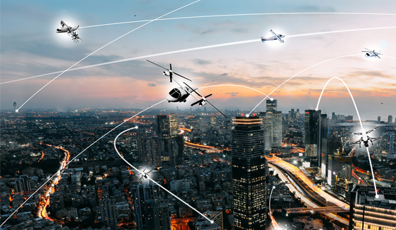 An artist's conception of an urban air mobility environment. SDSU and UCSD engineers will help bring futuristic electric air taxis closer to reality. Credits: NASA / Lillian Gipson