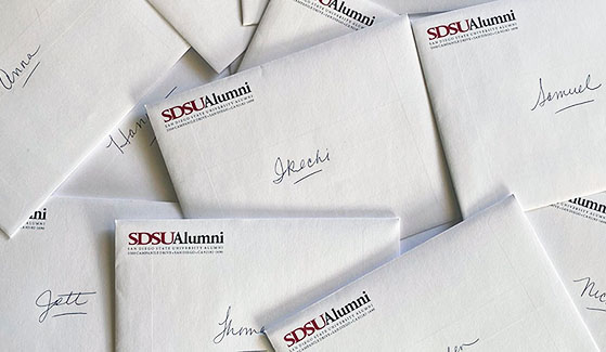 SDSU Alumni Board members, staff and members of The Campanile Foundation board of directors wrote 2,114 personal notes to students living in campus residence halls.