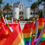 small rainbow flags on display in front of Hepner Hall