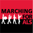 "graphic: marching band with text ""Marching for ALS"""