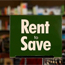 """Rent to Save"" program signage in the SDSU Bookstore"