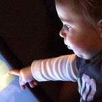 Infant doing touch-screen task in lab