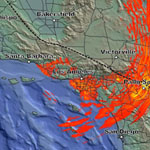 Still image of an earthquake simulation