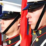 Detail of Color Guard members standing at attention