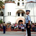 Service members marching on SDSU campus
