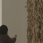 "Wendy Maruyama installs ""The Tag Project"" at the University Art Gallery."