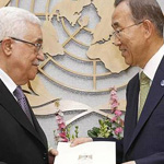 Palestinian Authority President Mahmoud Abbas (left) submits application to Secretary-General Ban Ki-moon for Palestine to become a UN Member State. Image courtesy of UN News Service.
