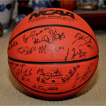 Signed basketballs raffled off by the SDSU Fitness Clinic.