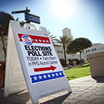 Polls were set up on campus for students, faculty, staff and community members to easily access voting sites.