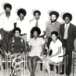 Africana Studies 40 year anniversery poster showing faculty from the 70's