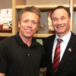 Alumnus Steven Welty met with SDSU President Elliot Hirshman after becoming the 40,000th donor to The Campaign for SDSU.
