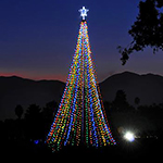 SDSU engineering students created a 35-foot holiday tree made of aluminum and steel, with 81 strands of energy efficient LED lights