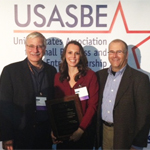 From Left: USASBE director Robert D'Intino, Erin Chmelik, USASBE president Rebecca White.