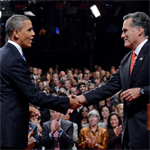 Obama and Romney shaking hands during the 2012 campaign.