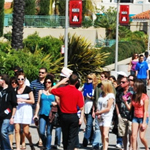 Tour guide and students at Explore SDSU