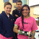 MESA competitors with their project for the prosthetic arm copetition.m