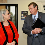 CSU Chancellor Timothy P. White and philanthropist Darlene Shiley chat during a tour of the Donald P. Shiley BioScience Center.