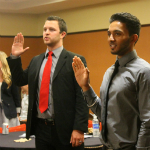 New representatives are sworn in at the last A.S. Council meeting.
