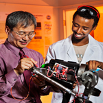 Ahmed Abdi and Kee Moon, Ph.D., professor of mechanical engineering, whose brain-controlled bionics research is funded by the National Science Foundation.
