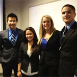 The members of the winning team (left to right): Andrew Won, Carolyn Chow, Kim Lewis and Jesus Cachu.