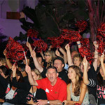 More than 150 alumni cheer new SDSU students at the 2012 Templo Del Sol welcome rally in front of Hepner Hall.
