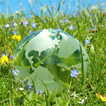 A cartoon of the earth in the grass