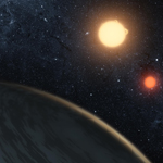 This artist's concept illustrates Kepler-16b, the first planet known to definitively orbit two stars.