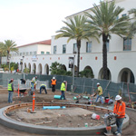 Workers working on the Aztec Student Union