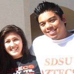 SDSU students pose in front of Student services