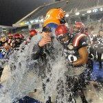 Head coach Rocky Long got the Gatorade treatment in the closing moments of the Aztecs
